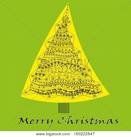 Yellow tree openwork Abstract celebration author handmade design Christmas and New Year tree decorated with flower ornament pattern snowflake curl dot triangle barrel text background vector illustration eps10 stock