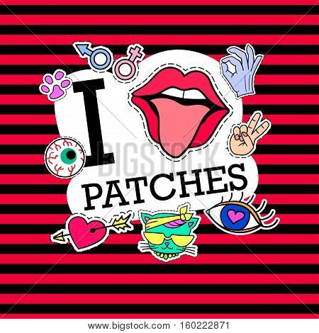I love patches. Poster, banner with Patch Badges. Vector illustration. design, trendy patches in cartoon 80s-90s comic style. Background with trendy strips. Eps10