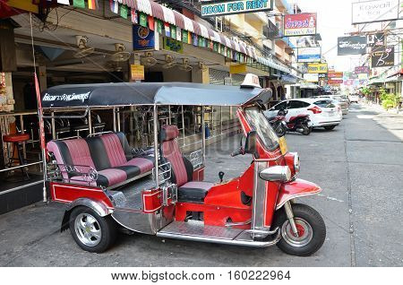 Sweet Color Service Car Called Tuk Tuk Parking At Road Side