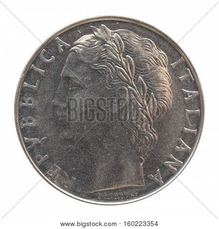 Italian Lira Coin Isolated Over White