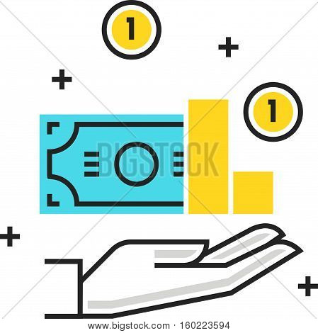 Color Box Icon, Revenue Concept Illustration