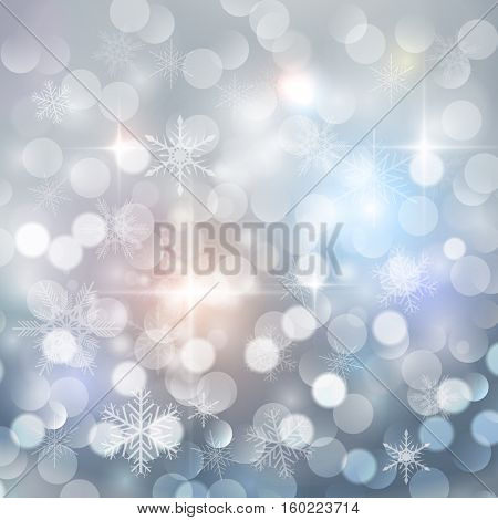 Christmas background with snowflakes and blinking bokeh, winter vector  illustration