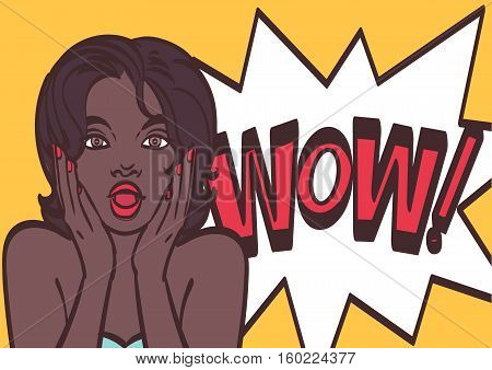 Wonderful african woman with speech WOW bubble. Vector colorful background in pop art retro comic style. Pop art girl. Pop art background