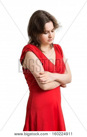 Young Sad Woman In Red Dress On White Background.