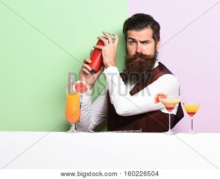Serious Handsome Bearded Barman