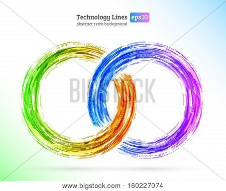 Abstract retro technology circles. Information transfer. Stream of information. Data transfer. Stock vector. eps 10