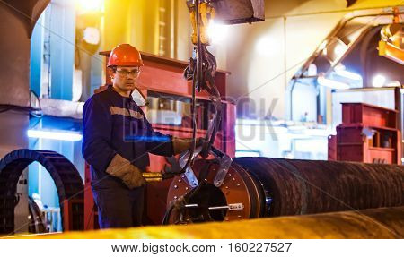 Safety At Work. Welding And Installation Of The Pipeline. Industrial Weekdays Welders And Fitters