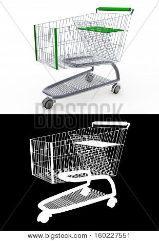 3d shopping cart isolated on white background with an alpha channel