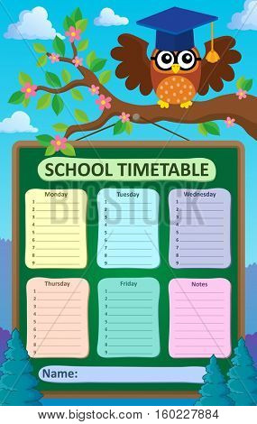 Weekly school timetable subject 5 - eps10 vector illustration.