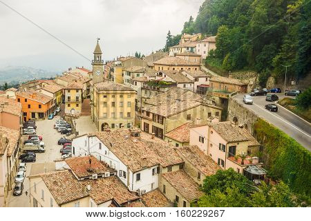 City of San Marino. Aerial view from the funicular. The Republic of San Marino