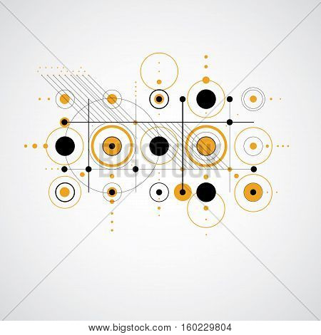 Modular Bauhaus vector background created from simple geometric figures like circles and lines. Best for use as advertising poster or banner design.