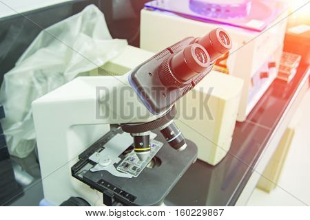 microscope for medical sample in labalotomy room and flare