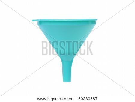 A cyan plastic funnel isolated on white
