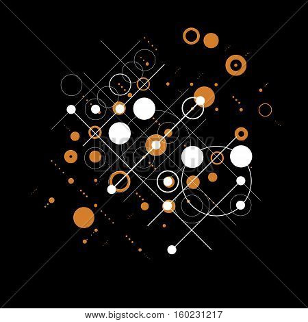 Vector abstract colorful background created in Bauhaus retro style. Modern geometric composition can be used as templates and layouts.