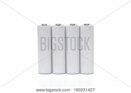 Rechargeable battery in a charger isolated on white
