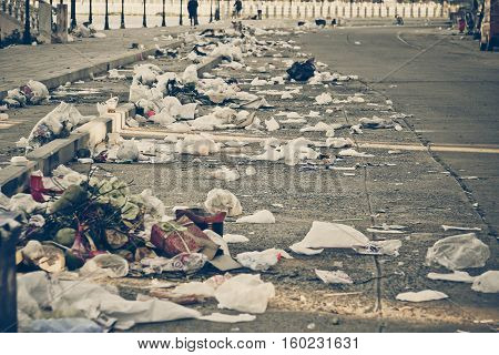 Road and footpath full of garbage / environmental problem