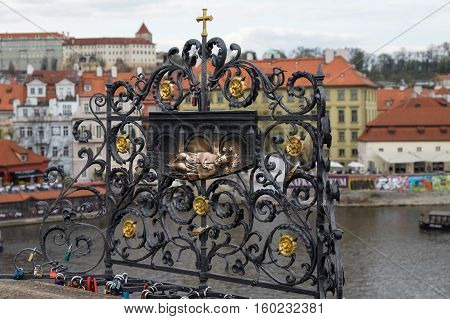 The Monument Of John Of Nepomuk At Charles Bridge In Prague