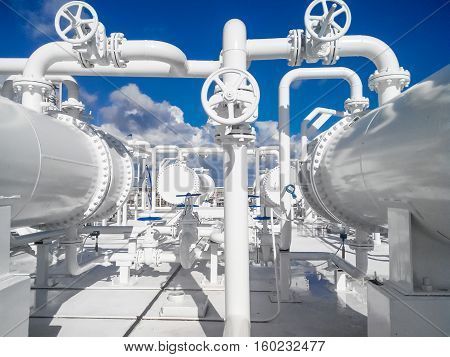 The Area Of The Equipment To Cool The Oil Product. Equipment For Primary Oil Refining