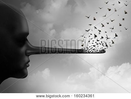 Stop corruption concept or spreading lies symbol as a person with a long nose that is being replaced by flying birds as a metaphor for honesty and communicating rumors or change for truth in a 3D illustration style.