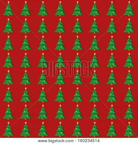Flat Christmas tree seamless pattern on red background. Vector illustration