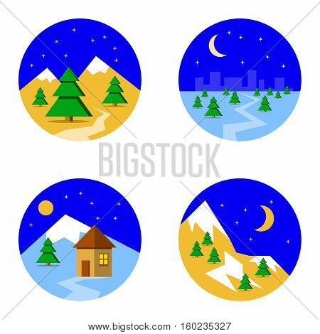 Set with pictures of ski landscape in mountains with snow and trees night in flat style