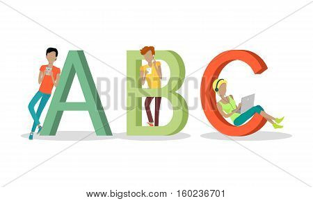 Gadget alphabet. Letter - A B C. People with gadgets near letters. Modern youth with electronic gadgets. Social media network connection. Simple colored letter and people with electronic devices