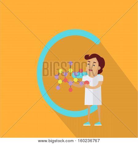 C letter and scientist with chemical compound layout. Human characters in white gowns with scientific instruments. Alphabet series with people. Chemistry and chemists. Scientific concept. ABC vector