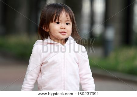 Smiling cute Japanese girl (1 year old)