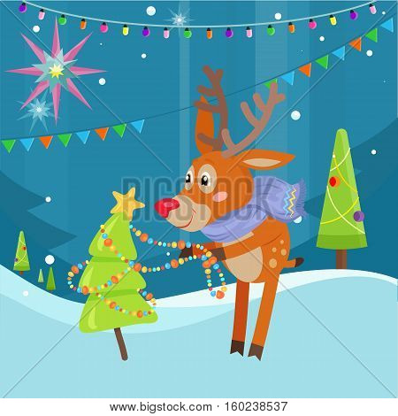 Deer in blue scarf decorating christmas tree on snowy background. Funny reindeer prepares for the New Year Eve. Cute mammal character decorates fir tree with garland in flat style. Vector illustration