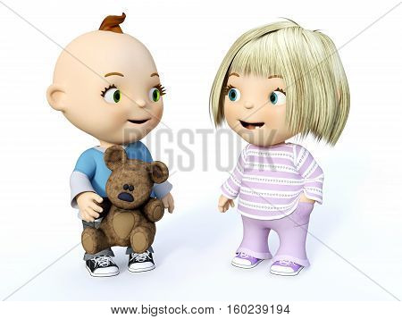 Cute smiling cartoon toddler boy and girl looking at each other 3D rendering. White background.
