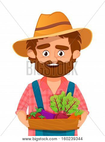 Bearded farmer or gardener in a hat holding a wooden box filled with fresh vegetables. isolated. vector illustration
