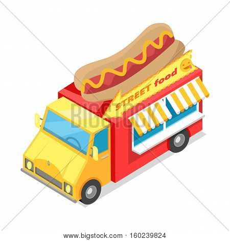 Street food. Eatery on wheels with hotdog on roof isometric vector illustration isolated on white background. Bright Van food store with signboard. For cafe, snack bar web page design