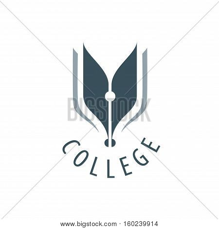 College logo design template. Vector illustration of icon