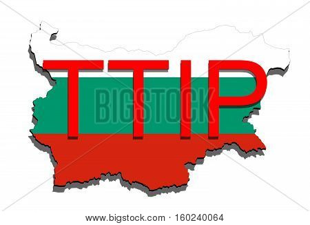 Ttip - Transatlantic Trade And Investment Partnership On Bulgaria Map