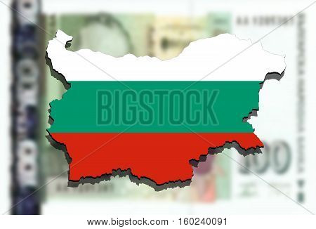 Close Up On Bulgaria Map On Bulgarian Lev Money Background
