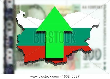 Bulgaria Map On Bulgarian Lev Money Background And Green Arrow Up