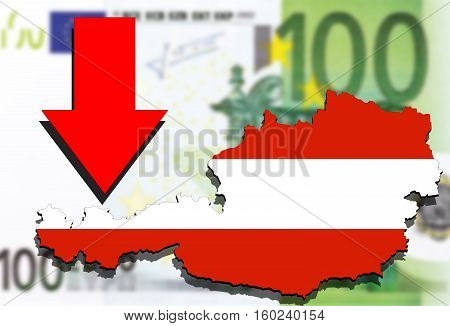 Austria Map On Euro Money Background And Red Arrow Down