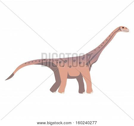 colorful cartoon with dinosaur diplodocus vector illustration