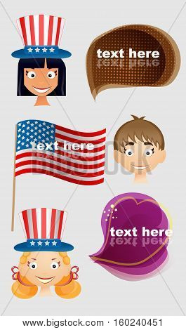 Set of vector people celebraiting independence day.