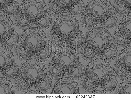Seamless with circles. Vector pattern on grey.