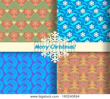 Set of four Christmas abstract seamless patterns on the wrapping paper.