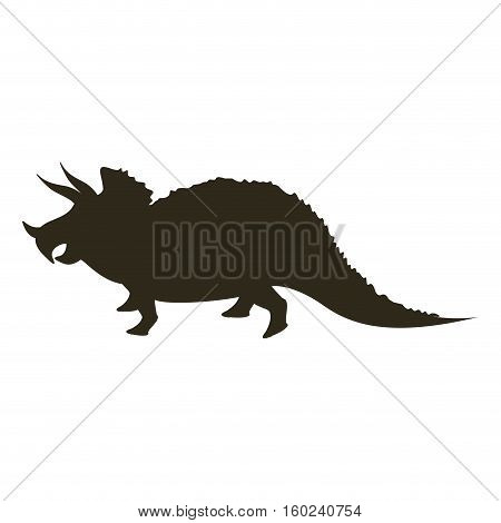 monochrome silhouette with dinosaur triceratops vector illustration