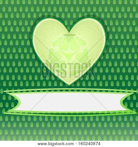 Card with cucumber heart with place for text.