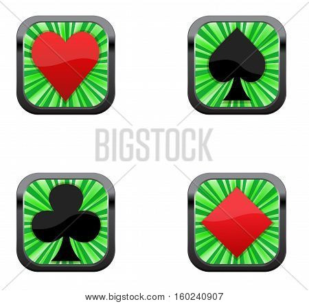 Vector four green game buttons isolated on white.