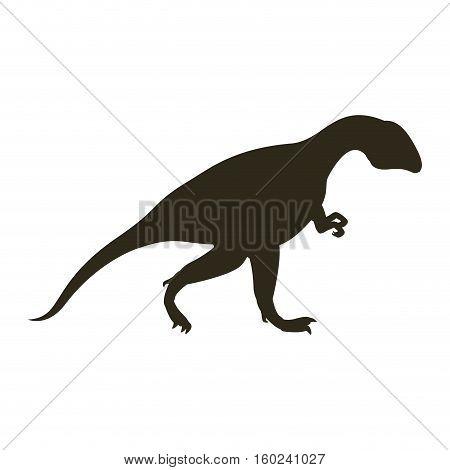 monochrome silhouette with dinosaur allosaurus vector illustration