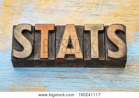 stats (statistics) word abstract  in vintage letterpress wood type printing blocks