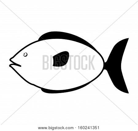 monochrome silhouette with small sea fish vector illustration