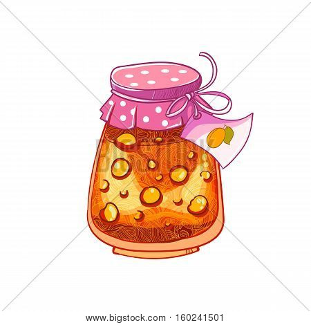 Jar of Apricot or peach. Jam isolated on white background. Vector cartoon hand drawing vector illusatrtion.