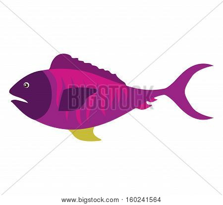 colorful silhouette with sea fish purple vector illustration