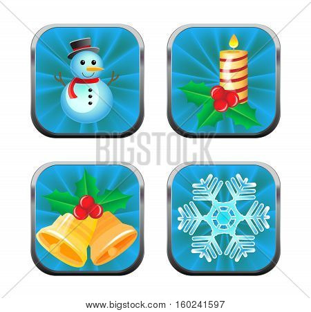 Four vector blue buttons with Christmas elements.